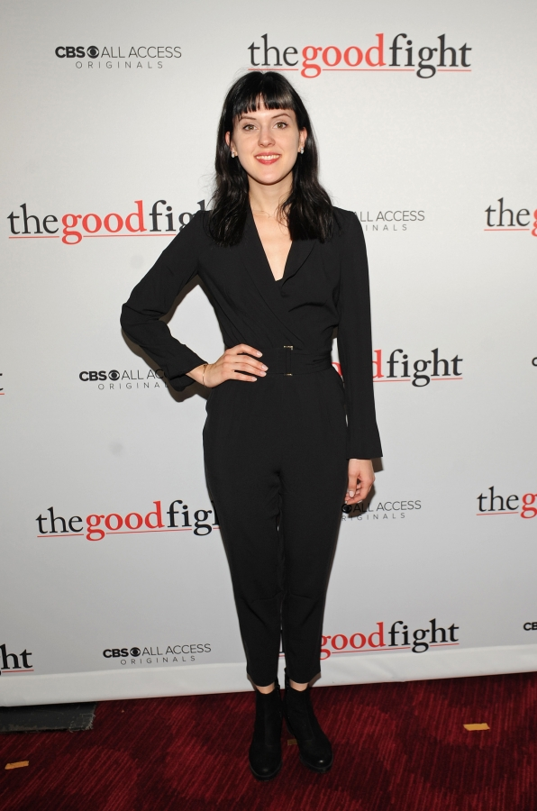 Grace Rex clearly perfects the black pantsuit on The Good Fight red carpet.