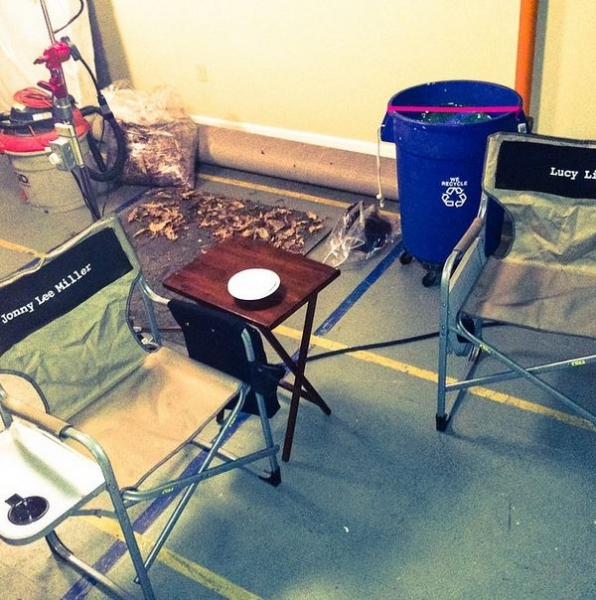 Elementary Instagram: Here's our go to hangout spot between takes. Nice chairs, right?