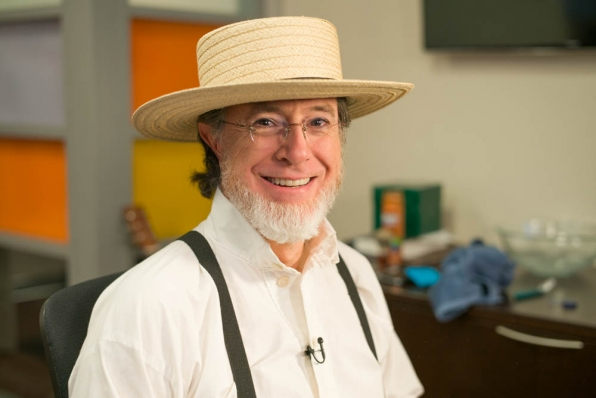 Amish Stephen Colbert, seen here wearing traditional Amish wireless mic.