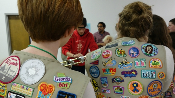 The Girl Scouts rocked plenty of merit badges on their vests.