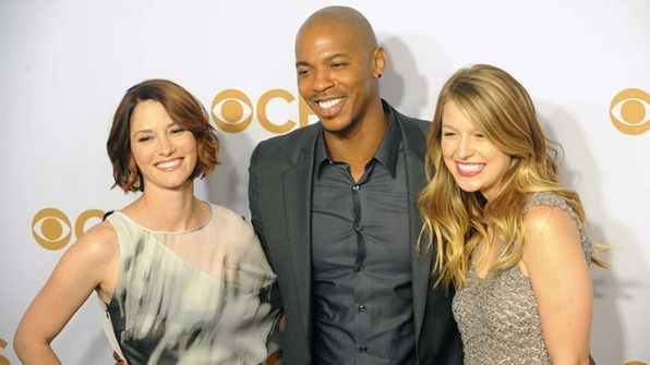 A trio of Supergirl stars linked up for a photo.