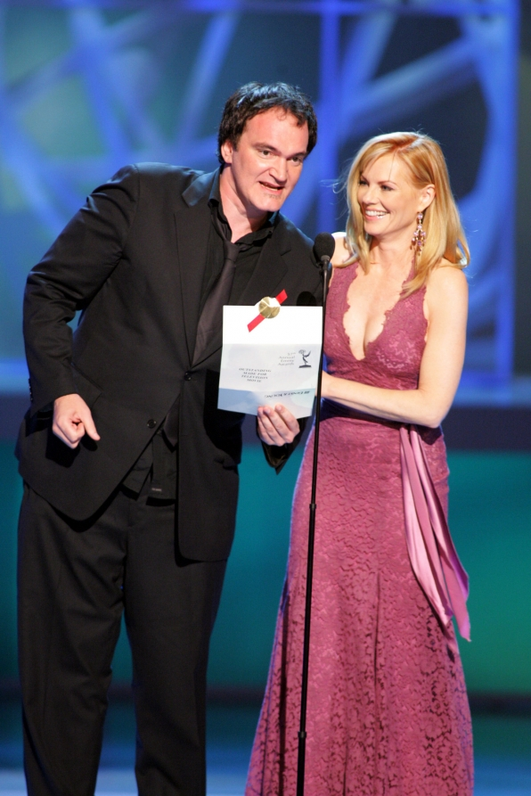 Quentin Tarentino and Marg Helgenberger of CSI: Crime Scene Investigation