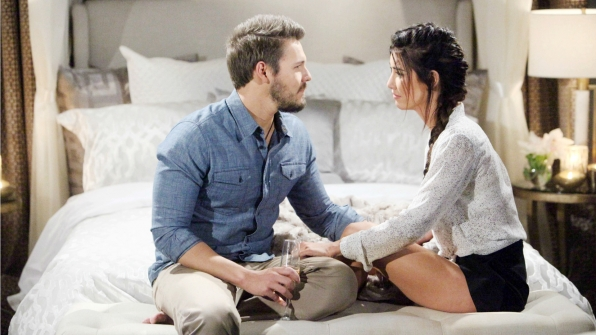 Steffy hints to Liam that she has a surprise for him on their honeymoon.