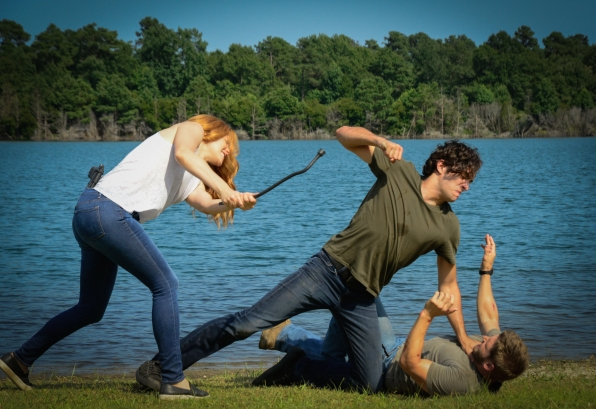 "Rachelle Lefevre as Julia Shumway, Alexander Koch as Junior Rennien and Mike Vogel as Dale ""Barbie"" Barbara."
