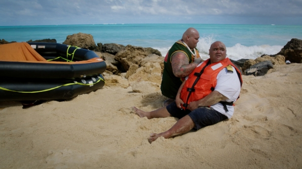 Shawn Mokuahi Garnett as Flippa/Shawn Tupuola and Taylor Wily as Kamekona