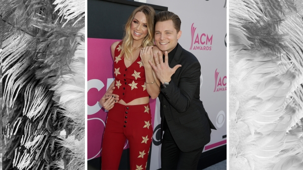 Frankie Ballard and wife Christina Murphy show off their new matching bling.