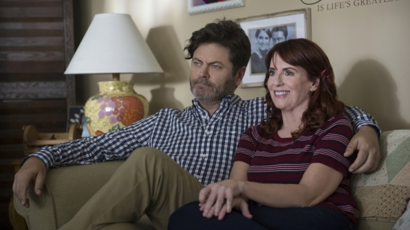 "Nick Offerman and Megan Mullally in ""Annulled Roommate Pill Shower"""