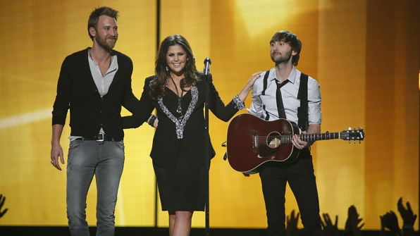 """34. Lady Antebellum perform """"Dancin' Away With My Heart"""" at the 47th ACM Awards in 2012."""