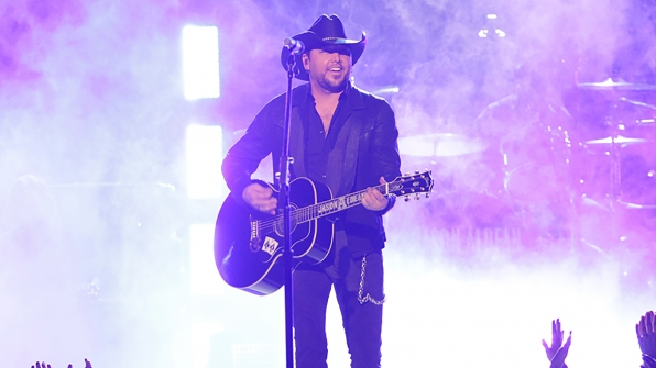 """27. Jason Aldean performs """"When She Says Baby"""" at the 49th ACM Awards in 2014."""