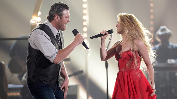 "11. Blake Shelton and Shakira perform ""Medicine"" at the 49th ACM Awards in 2014."