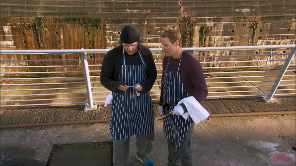 """Bates and Anthony in the season finale of The Amazing Race """"Beacon of Hope"""""""