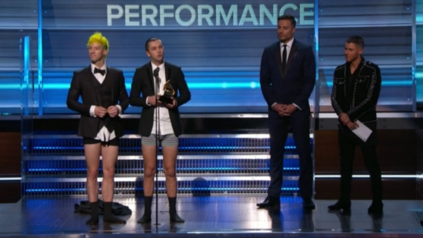 Twenty One Pilots stripped down to their skivvies to receive the GRAMMY for Best Pop Duo/Group Performance.