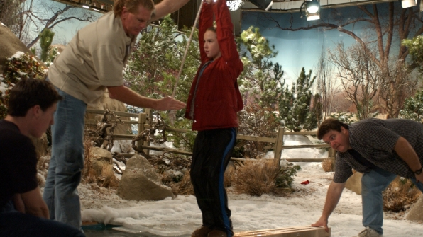 Camryn Grimes tests out her balance.