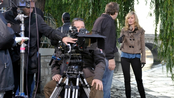 Eileen Davidson looks cool and confident while filming on location.