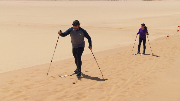 Skiing... on sand