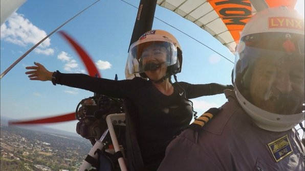 Krista takes a ride in the sky for #TheCheerleaders.