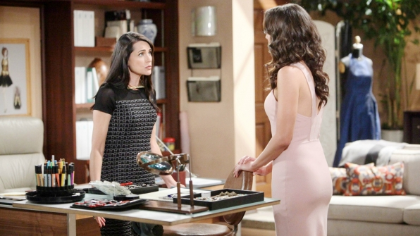 Katie's presence at Forrester Creations causes Quinn unbearable anxiety.