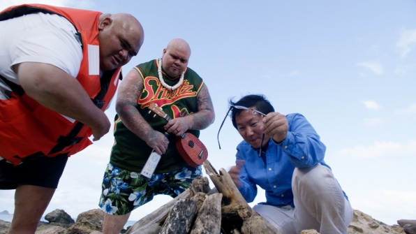 Taylor Wily as Kamekona, Shawn Mokuahi Garnett as Flippa/Shawn Tupuola, and Masi Oka as Dr. Max Bergman