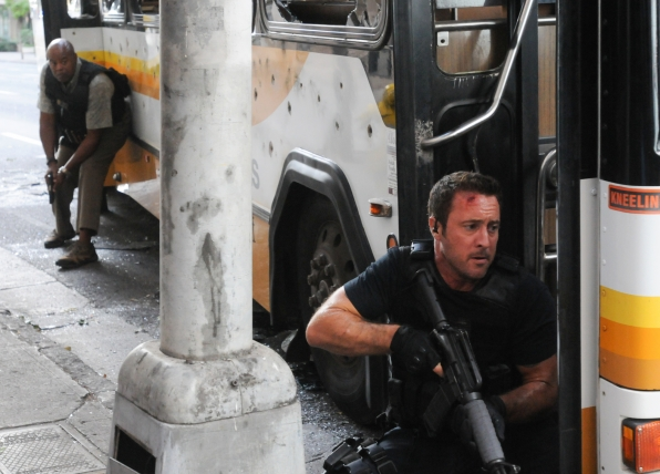 Chi McBride as Lou Grover and Alex O'Loughlin as Steve McGarrett