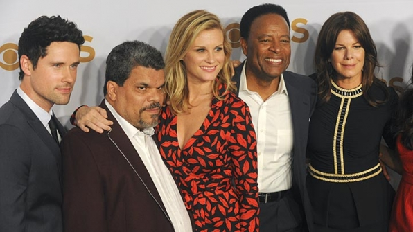 Benjamin Hollingsworth, Luis Guzman, Bonnie Somerville, William Allen Young and Marcia Gay Harden smile for the cameras.