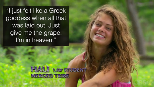 Hali is over the moon about their feast.