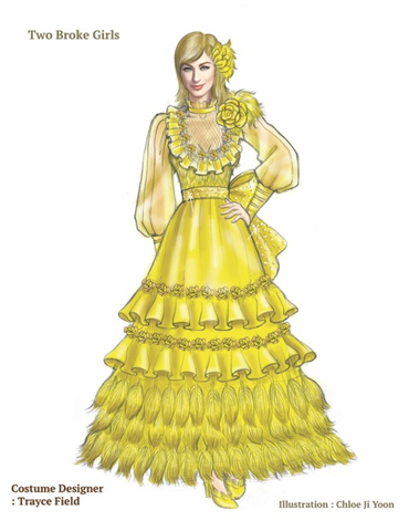 A sketch of Caroline's dress