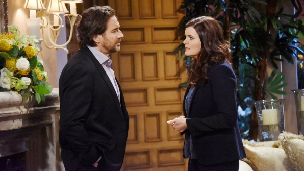 Ridge and Katie exchange antagonistic warnings regarding their respective future interactions with Quinn.