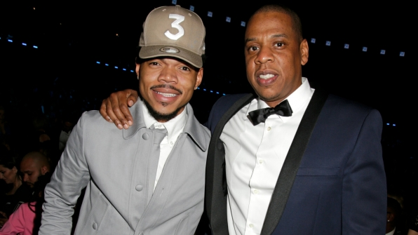 Best New Artist winner Chance The Rapper gets chummy with hip-hop mogul Jay Z.