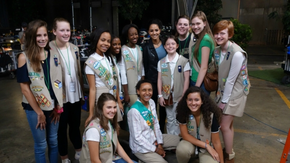 The Girl Scouts pose for a group shot.