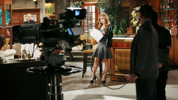 Tracey Bregman runs through her lines at The Club.