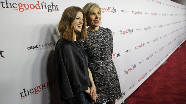 Rose Leslie and Christine Baranski are all smiles before entering the theater.