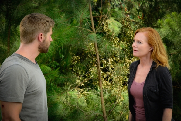 "Mike Vogel as Dale ""Barbie"" Barbara and Marg Helgenberger as Christine Price."