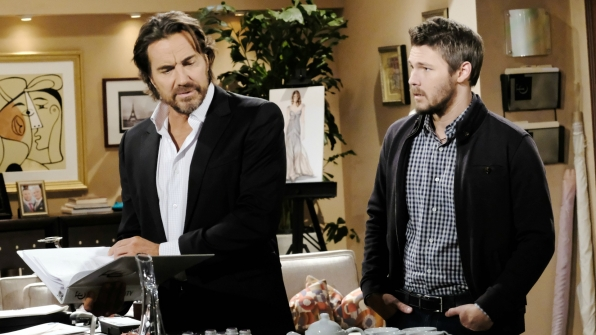 Liam watches in wonder as Ridge works his magic on Quinn in an attempt to rid their lives of her.