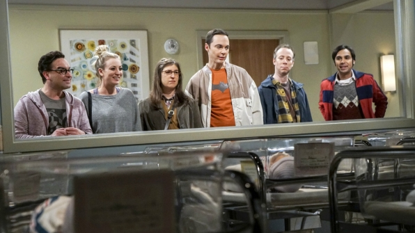 Everyone gathers around the maternity ward to see Baby Wolowitz.