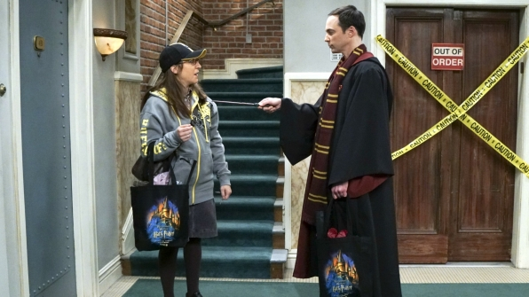 Amy and Sheldon have clearly done some shopping.