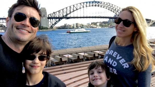 Daniel Goddard (Cane Ashby) and his wife, Rachael, proudly introduced his sons to his native land of Australia.