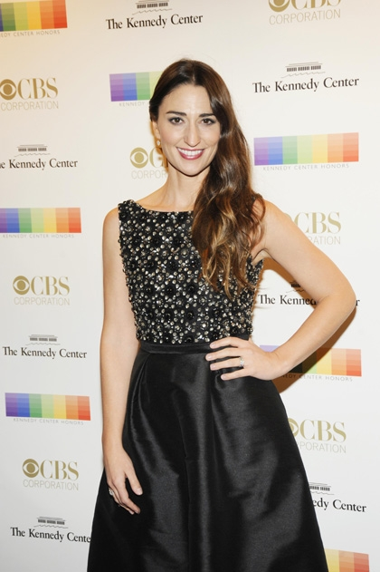 Singer Sara Bareilles looks positively regal in a intricately beaded gown.