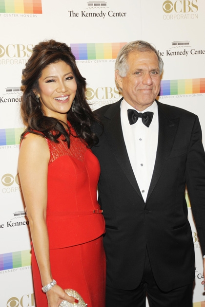Julie Chen and her husband, CBS President Leslie Moonves, smile as they walk the red carpet together.