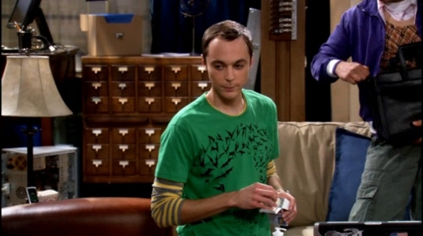 Sheldon Cooper's bat question mark shirt from The Big Bang Theory