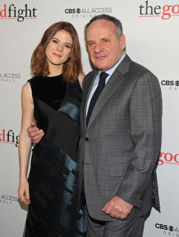 Rose Leslie and her on-screen father, Paul Guilfoyle, pose together before the premiere.