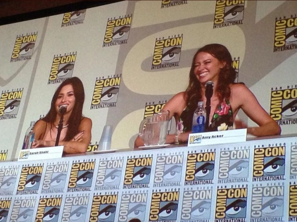 Sarah and Amy share a laugh during the Person of Interest panel.