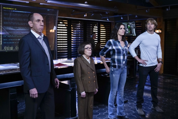 "Miguel Ferrer as NCIS Assistant Director Owen Granger, Linda Hunt as Henrietta ""Hetty"" Lange, Daniela Ruah as Special Agent Kensi Blye, and Eric Christian Olsen as LAPD Liaison Marty Deeks"