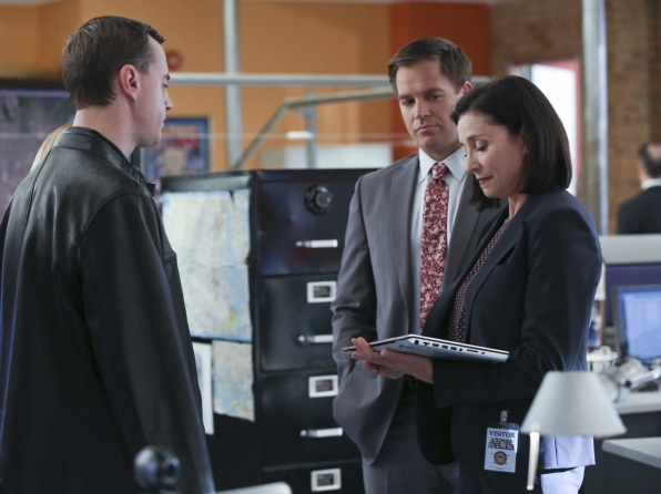 Sean Murray as Timothy McGee, Michael Weatherly as Anthony DiNozzo, and Mimi Rogers as Joanna Teague.