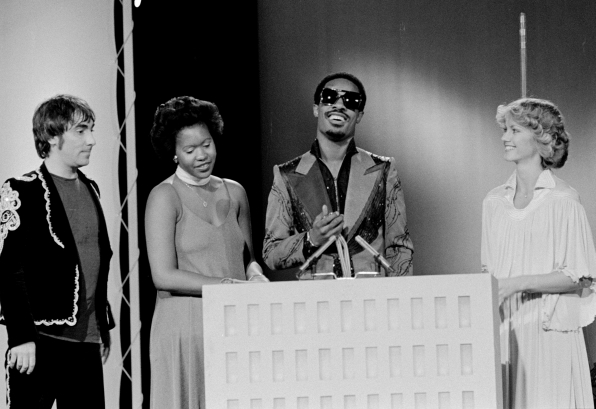 Stevie Wonder accepts a Rock Music Award in 1975