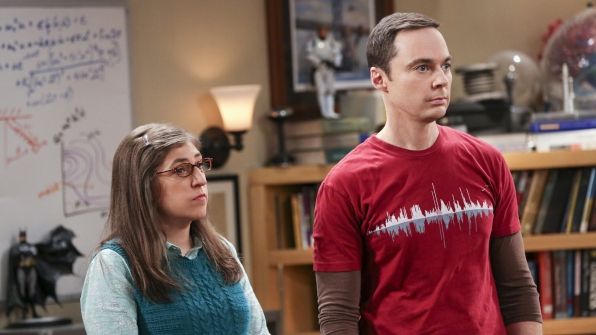 Amy and Sheldon look mildly disturbed.