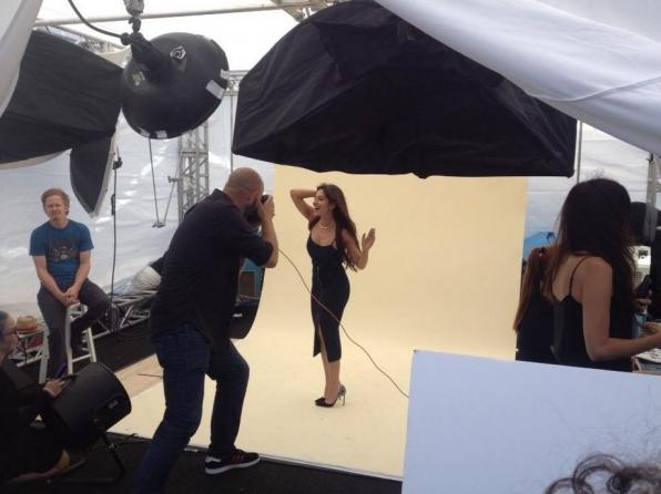 Sarah Shahi works the camera