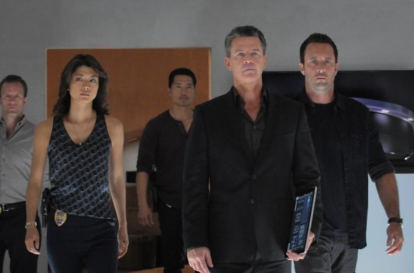 "Scott Caan as Danny ""Danno"" Williams, Grace Park as Kono Kalakaua, Daniel Dae Kim as Chin Ho Kelly and Alex O'Loughlin as Steve McGarrett"