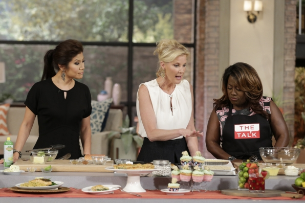 5. Sandra Lee in the kitchen with Julie and Sheryl