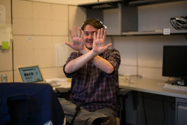 Writer Michael Brumm, showing his jazziest boss-hands.
