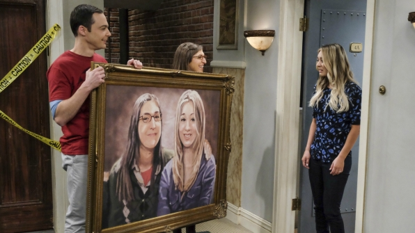 Sheldon and Amy stop by with a massive surprise for Penny and Leonard.